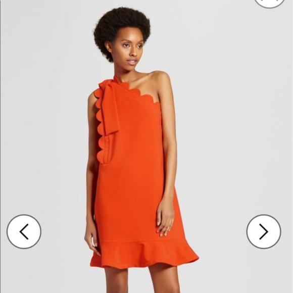 Victoria Beckham Dresses & Skirts - Victoria Beckham Orange One-shoulder Dress NEW